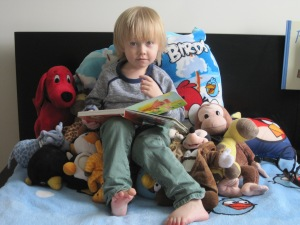 Grandson, Aiden, reading in his bed!